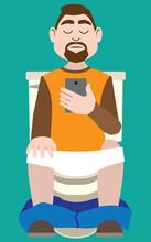 Man On Phone In Bathroom