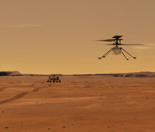 Ingenuity Mars Helicopter In Flight. Elements Of Image Furnished By NASA