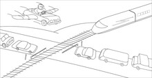 Person In His Imagination Overcomes A Large Traffic Jam At Railway Crossing. Monochrome Illustration