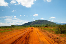 .beautiful Savannah Views, Red Clay Roads, African Landscapes With Animals In Kenya