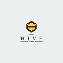 Hive Bee Home Key Logo Icon