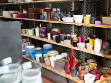 Variety Of Clay And Plastic Flowerpots And Cachepots For Houseplants On Sale In Store