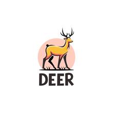 Deer Illustration Logo Modern Retro Vintage Hand Drawn Abstract Vector Design