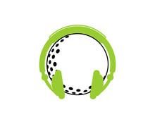 Golf Ball With Using Earphone Logo