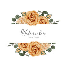 Watercolor Yellow Rose Flower Border With Leaf