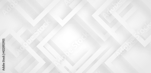Fototapeta Grey white abstract background geometry shine and layer element vector for presentation design. Suit for business, corporate, institution, party, festive, seminar, and talks. obraz