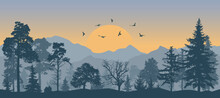 Beautiful Forest On Background Of Mountains And Sunset And Flying Birds, Silhouettes. Vector Illustration