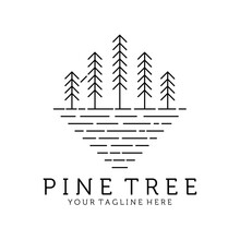 Evergreen Pine Tree Line Art Nature Logo Vintage Vector Illustration Design