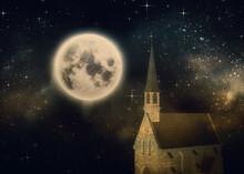 3D Catholic Church And Full Moon
