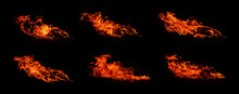 Heat Set, Amount 6 Images, Fire, Heat Energy That Burns According To The Wind Currents Isolated On A Black Background