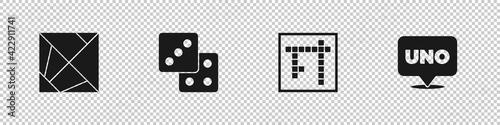 фотография Set Rubik cube, Game dice, Bingo and Uno card game icon. Vector