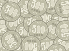 Japanese 500 Yen Coins Background Illustration