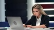 Focused business lady working use laptop modern comfortable workplace. Shot with RED camera in 4K