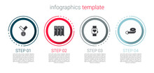 Set Medal, Locker Or Changing Room, Smart Watch And Tape Measure. Business Infographic Template. Vector