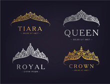 Vector Set Of Abstract Luxury, Royal Golden, Silver Company Logo Icon Vector Design. Isolated On Dark Background, Vintage Style.