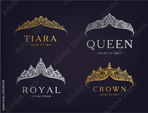 Stampa su Tela Vector set of abstract luxury, royal golden, silver company logo icon vector design