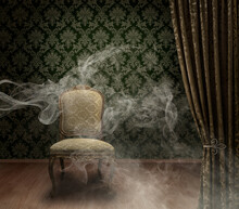 Antique Chair In Mystery Room With Spooky Smoke Trails