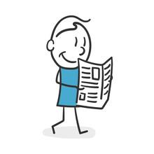 Stick Man Reading The Newspaper. Current News Reader Stick Man Concept