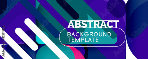 Fotografia Modern geometric round shapes and dynamic lines, abstract background