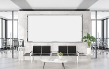 Panoramic Frame Mockup Hanging In Office Waiting Room. Template Of A Billboard In Modern Interior 3D Rendering