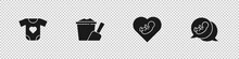 Set Baby Clothes, Sand In Bucket With Shovel, Inside Heart And Icon. Vector