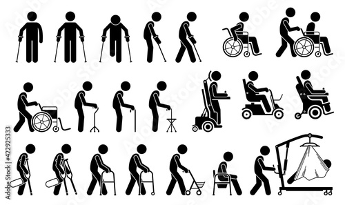 Foto Mobility aids medical tools and equipment stick figure pictogram icons