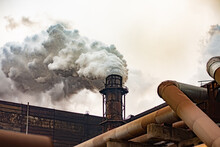 Atmospheric Air Pollution By Mining And Metallurgical Enterprises. Ferrous Metallurgy Plants Of Ukraine. Thick Smoke From The Factory Chimneys.