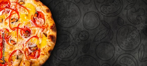 Fototapeta Delicious Italian pizza with painted food ingredients. Cooking background concept. obraz