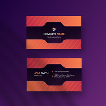 Modern Editable Business Card Design With Double-Sides On Purple Background.