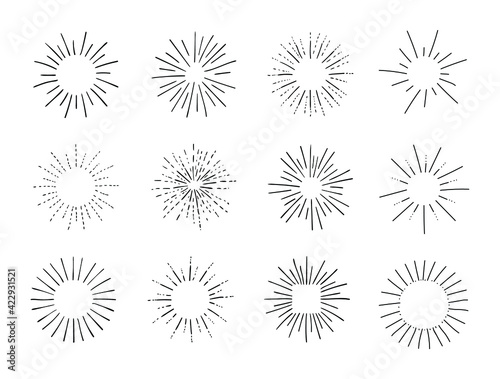 Fototapeta Vector Set of Retro Circle Frames, Rays, Shining Isolated on White Black Outline Drawings, Vintage Sketch Design Elements Collection.  obraz