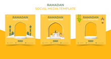 Editable Square Social Media Post Template. Ramadan Sale Banner Concept For Promotion With Podium.