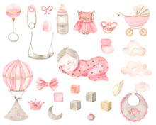 Watercolor Hand Painted Newborn Girl Set  With Cute Sleeping Baby, Stroller, Balloon, Bottle, Pacifier, Bow, Bib, Clouds. Design For Baby Shower, Textile, Print, Nursery Decor, Children Decoration