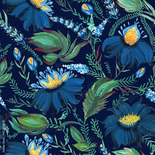 Fotografia Floral seamless pattern in Ukrainian folk painting style Petrykivka