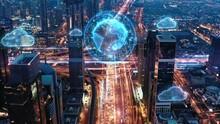 AI Big Data Wifi Network 5G Application Panoramic Skyline Of Metropolitan City Aerial Flight During Night Holograms World Of Tomorrow 5g Network Low Light
