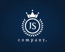Letter SJ, JS, And J Or S Elegant Crown Emblem. Beautiful Calligraphy Laurel Wreath Crown Monogram. Graceful Design For Restaurant, Cafe, Brand Name, Badge, Label, Product, Label.