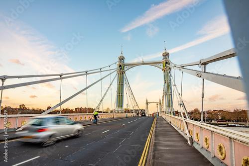 Tableau sur Toile The Albert Bridge is a road bridge over the River Thames in London