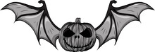 Design Of Pumpkin With Bat Wings Vector Illustration