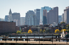 View Of Boston Skyline From A Port Hole In The USS Constitution