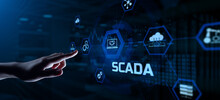 SCADA System Supervisory Control And Data Acquisition Technology Concept. Hand Pressing Button