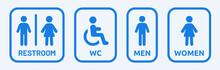 Male, Female, Handicap Toilet Sign Vector Illustration