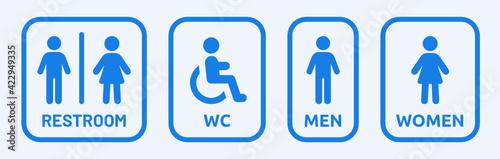 Fotografie, Obraz Male, Female, Handicap toilet sign vector illustration