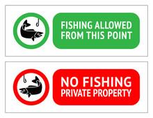 Sticker Set No Fishing Or Fishing Allowed