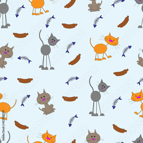 seamless pattern with cartoon cats, packaging, textiles, children's
