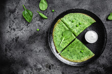 Spinach Green Pancakes Crepes With Sour Cream. Healthy Breakfast, Vegetarian Food, Banner, Menu Recipe Place For Text, Top View