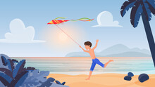 Child Boy Playing, Running With Kite In Tropical Nature, Summer Beach Landscape Vector Illustration. Cartoon Happy Kid Character Holding Flying Red Kite In Hand, Children Play Fun Activity Background