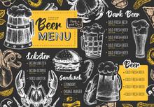 Restaurant Beer Menu Design. Decorative Sketch Of Beer And Seafood Snack. Fast Food Menu