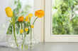 canvas print picture - Beautiful fresh spring flowers on window sill indoors