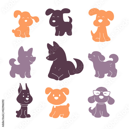 Collection of cute funny dog characters different breeds sit and stand isolated on white background. Vector flat simple illustration. For stickers, pet shelter emblems, veterinary logo, gift tags.
