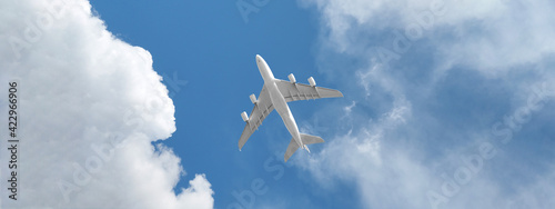 Fotografija Ultra wide photo of passenger commercial airplane flying above head as shot from