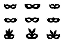 Festive Carnival Set Of Masks Vector Icons Isolated On White Background
